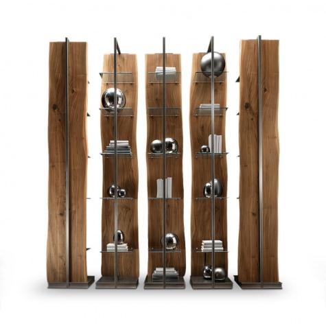 Составной книжный шкаф из цельного ореха или дуба