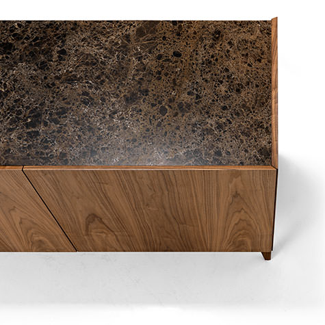 Sideboard in walnut wood with marble top