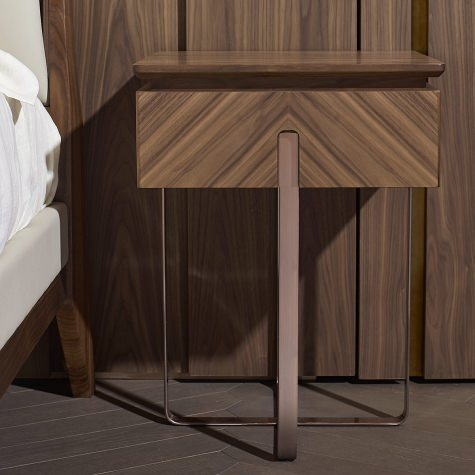 Bed side table in solid walnut