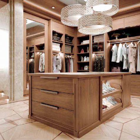 Customized wooden modern style Walk-in wardrobe