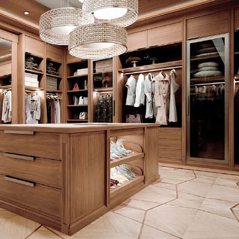Customized wooden modern style Walk-in wardrobe