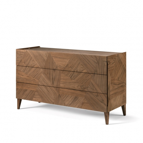 Frammenti chest of drawers in solid walnut