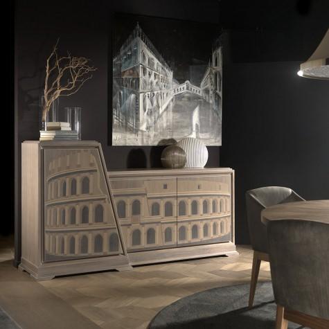 Credenza porta TV in legno con ripiani intarsiata a mano Colosseo
