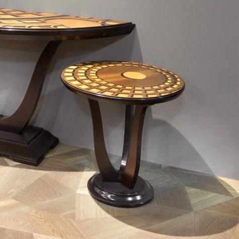 Tavolino da salotto rotondo in legno intarsiato Pantheon