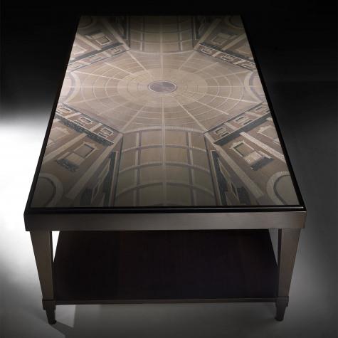 Tavolino da salotto in legno intarsiato Galleria Vittorio Emanuele