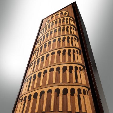 Mobile bar in legno intarsiato Torre di Pisa