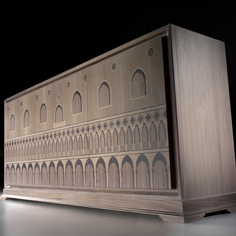 Sideboard in wood, inlayed by hand