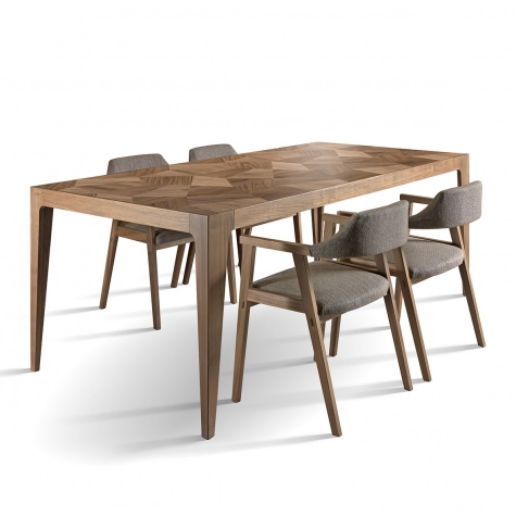 Frammenti rectangular table in solid walnut