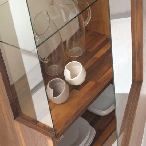 Vista glass cabinet in solid walnut