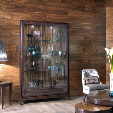 Wood cabinet with structure in solid oak, walnut or ebony with two door