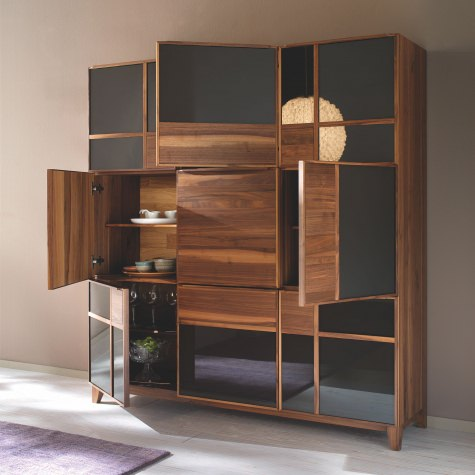 Cabinet in solid walnut or oak with 9 doors