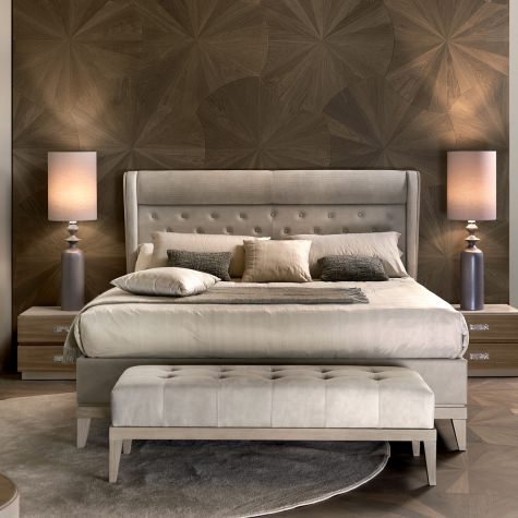 Upholstered bed in classic style