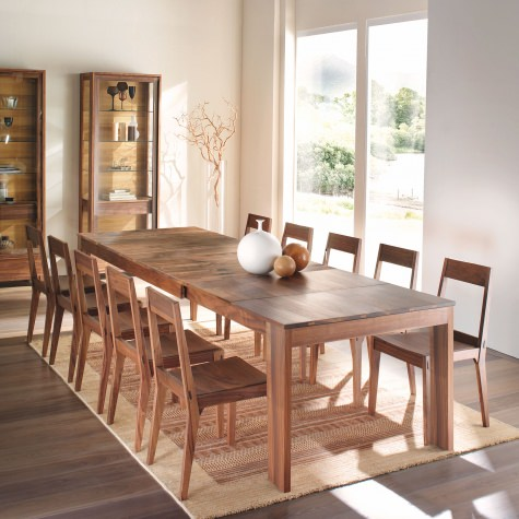 Rectangular table in solid walnut with extensions with transverse boards