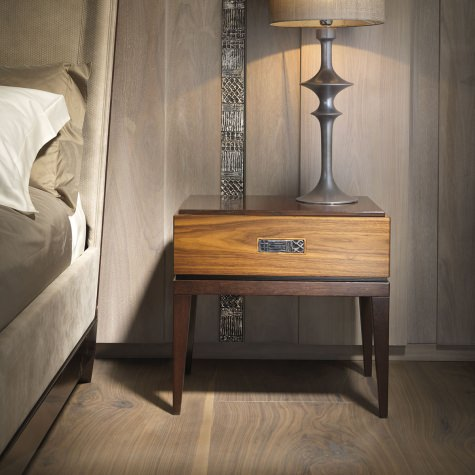 Bed side table in walnut or oak with 1 drawer