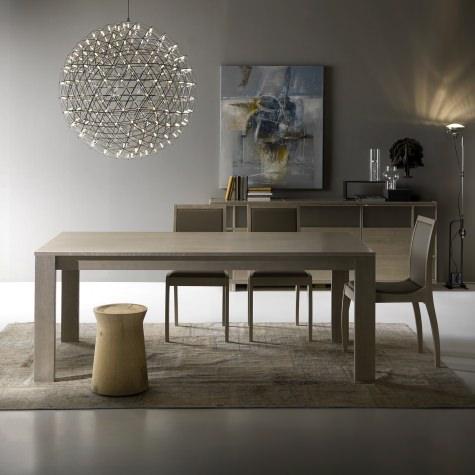 Раздвижной прямоугольный стол из цельного ореха или дуба