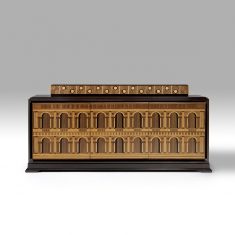 """Basilica Palladiana"" sideboard in wood, inlayed by hand"