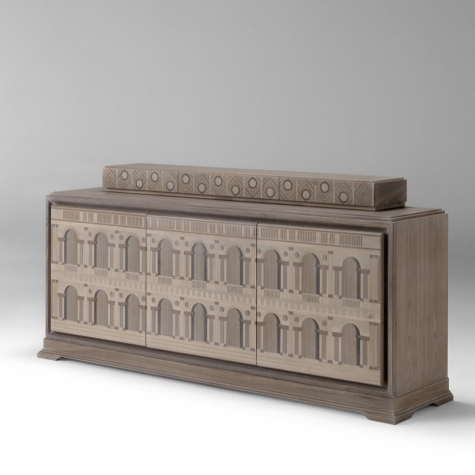 Credenza in legno intarsiato a mano Basilica Palladiana