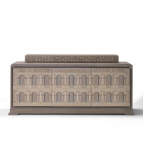 """Basilica Palladiana"" sideboard with upstand in wood, inlayed by hand"