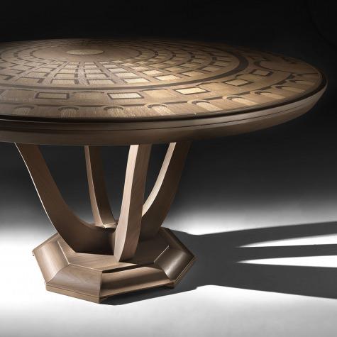 Tavolo rotondo Pantheon, gamba a V, fisso o con allunghe, diametro 150 e 180 cm