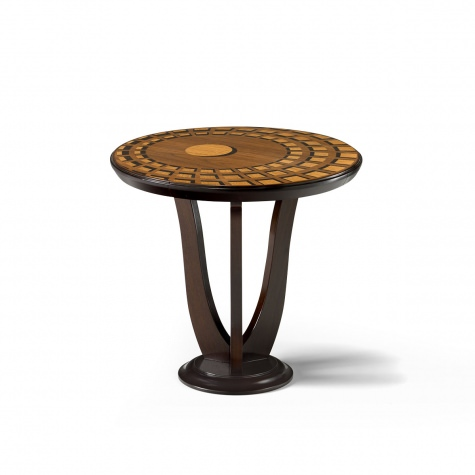 """Pantheon"" round inlayed coffee table in wood"