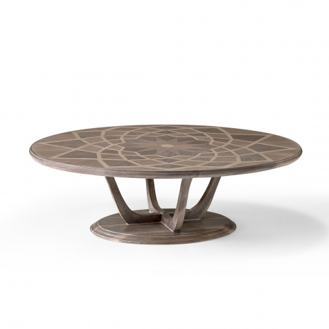 """Piazza del Campidoglio"" round inlayed coffee table in wood"