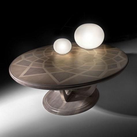 Tavolino da salotto ovale o rotondo in legno intarsiato Piazza del Campidoglio