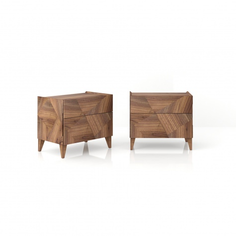 Frammenti bed side table in solid walnut
