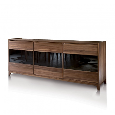 Sideboard in solid walnut or oak with 2 o 3 doors