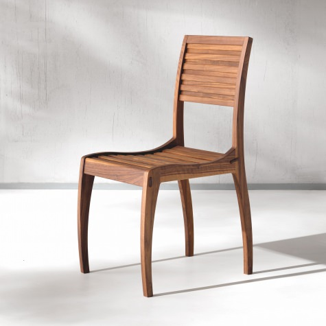 Upholstered chair in solid walnut
