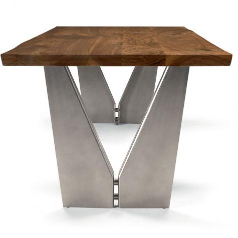 Tavolo Vivo in legno di noce massello o rovere massello