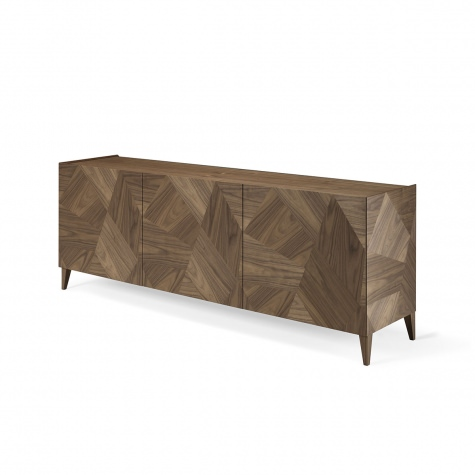 Sideboard in solid walnut with inlay