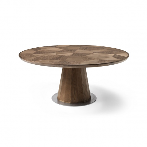 Round table in solid walnut with inlay