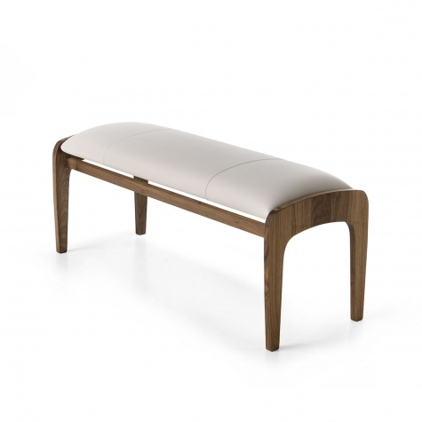 Upholstered bench in solid walnut