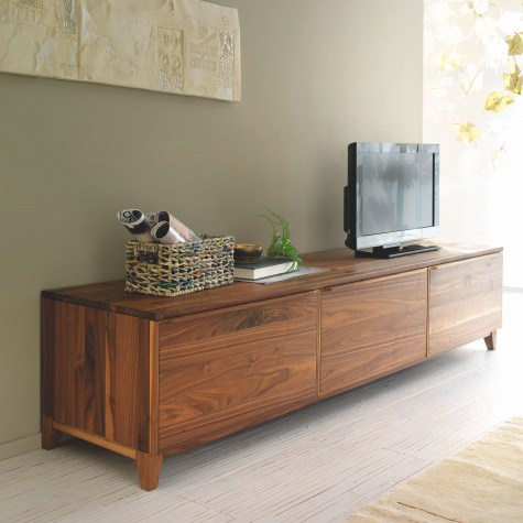 Sideboard in solid walnut or oak with 3 doors in wood