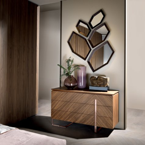 Hexagone mirror with frame in solid walnut or oak, composition 2