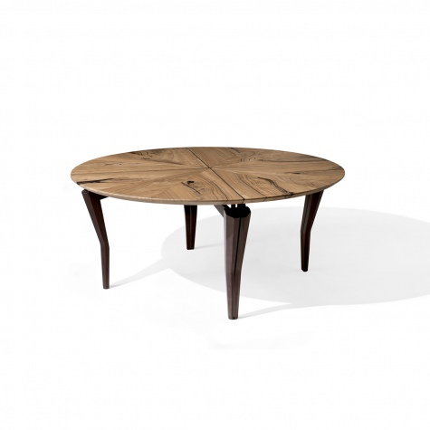 Round table in solid walnut